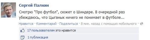 Сергей ПАЛКИН: «Цыганык ничего не понимает в футболе…»
