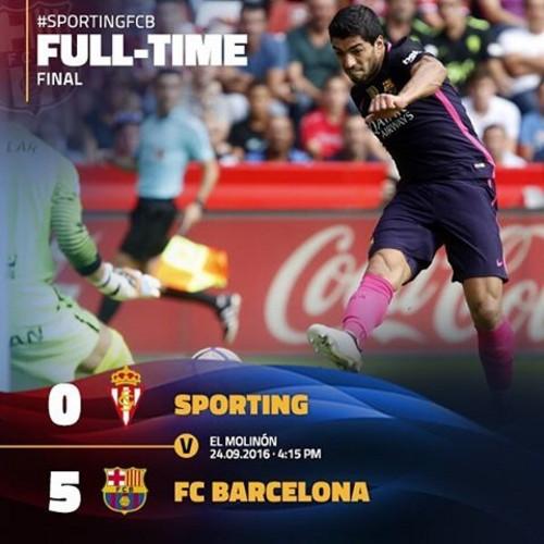 «Барселона» без Месси забила 5 мячей вХихоне