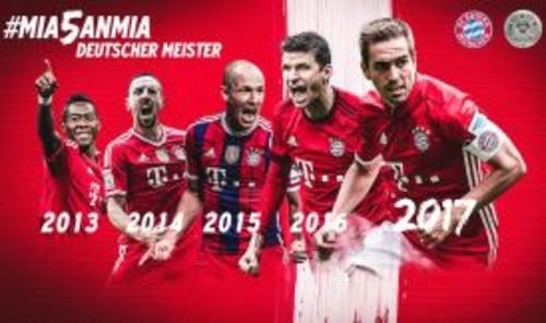 «Бавария» в 5-й раз подряд выиграла чемпионат Германии